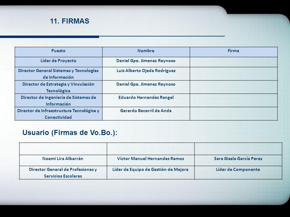 11. FIRMAS PuestoNombreFirma Líder de ProyectoDaniel Gpe. Jimenez Reynoso Director General Sistemas y Tecnologías de Información Luis Alberto Ojeda Ro