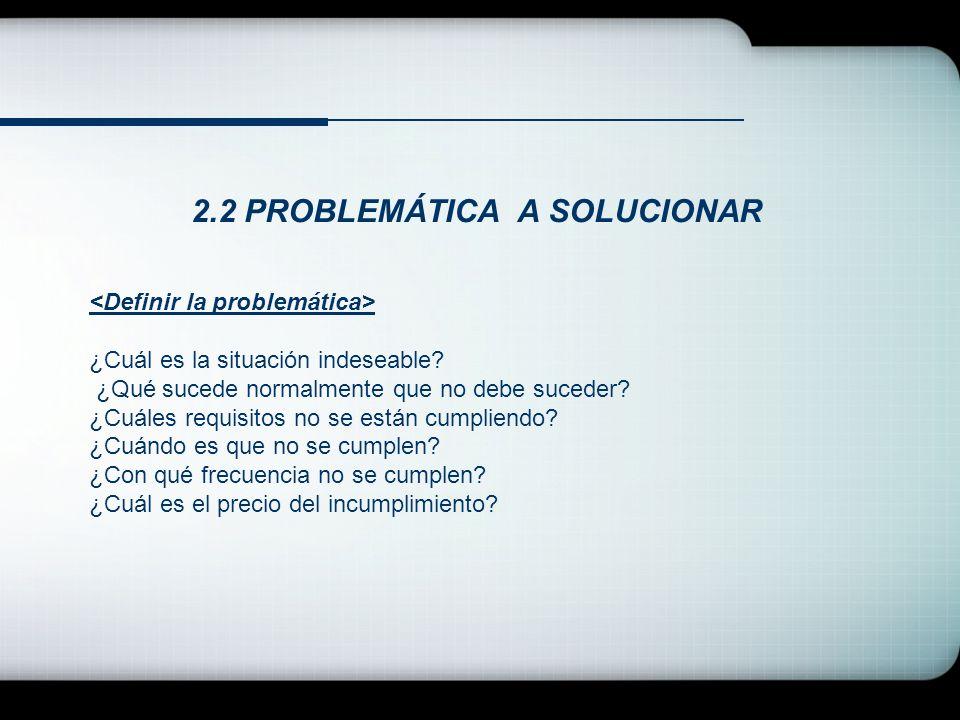 2.2 PROBLEMÁTICA A SOLUCIONAR ¿Cuál es la situación indeseable? ¿Qué sucede normalmente que no debe suceder? ¿Cuáles requisitos no se están cumpliendo