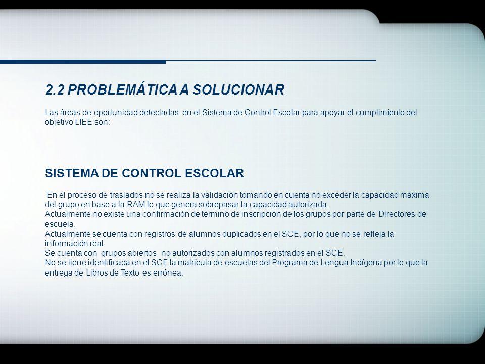 2.2 PROBLEMÁTICA A SOLUCIONAR Las áreas de oportunidad detectadas en el Sistema de Control Escolar para apoyar el cumplimiento del objetivo LIEE son: