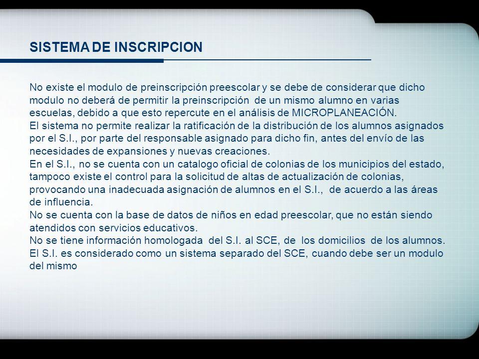 SISTEMA DE INSCRIPCION No existe el modulo de preinscripción preescolar y se debe de considerar que dicho modulo no deberá de permitir la preinscripci