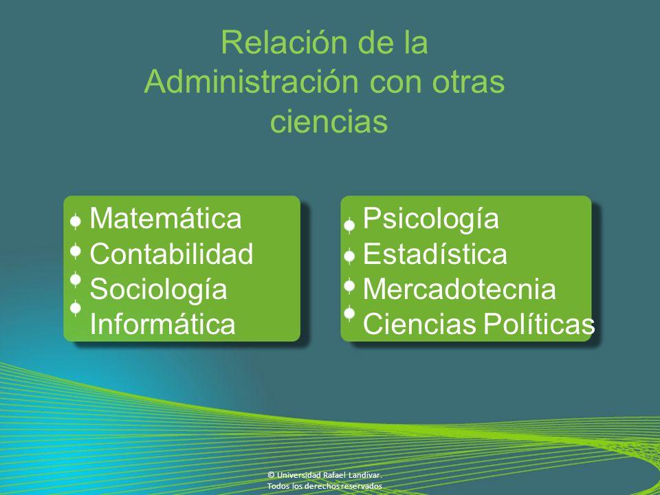 Relación de la Administración con otras ciencias Psicología Estadística Mercadotecnia Ciencias Políticas Matemática Contabilidad Sociología Informática © Universidad Rafael Landívar.