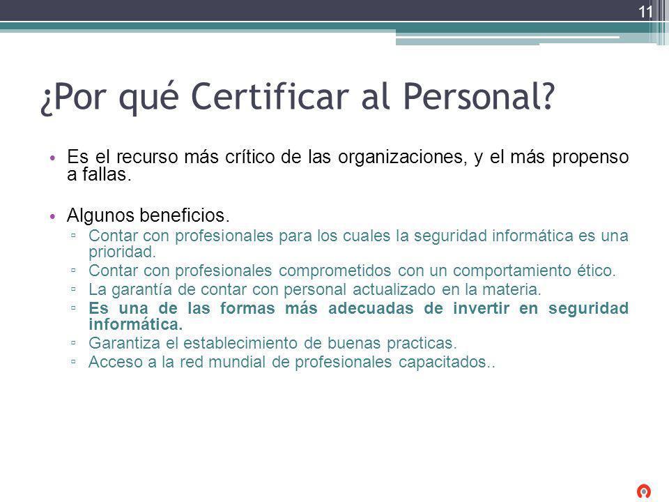 ¿Por qué Certificar al Personal? Es el recurso más crítico de las organizaciones, y el más propenso a fallas. Algunos beneficios. Contar con profesion