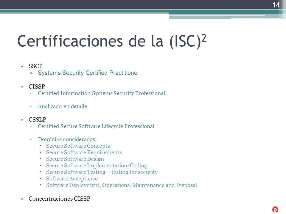 Certificaciones de la (ISC) 2 SSCP Systems Security Certified Practitione CISSP Certified Information Systems Security Professional. Analizado en deta