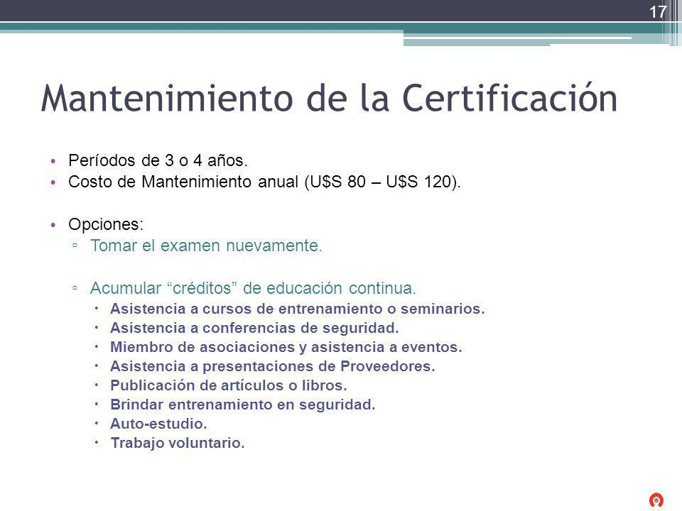 Mantenimiento de la Certificación Períodos de 3 o 4 años. Costo de Mantenimiento anual (U$S 80 – U$S 120). Opciones: Tomar el examen nuevamente. Acumu