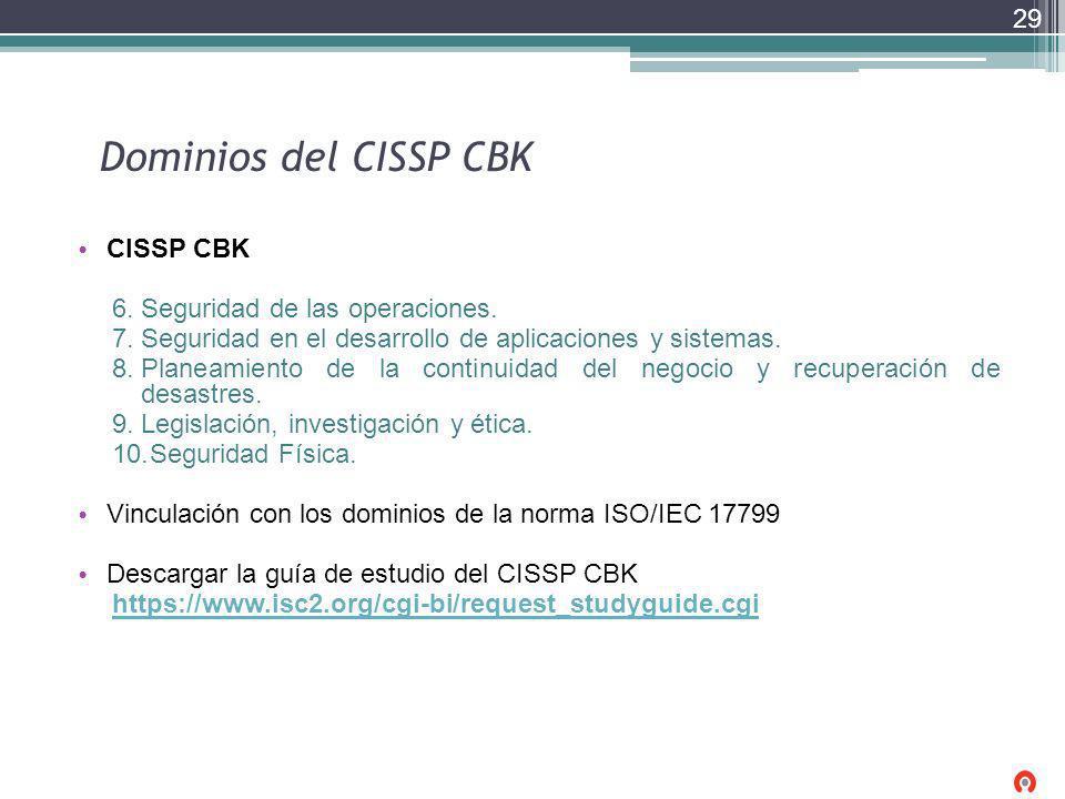 Dominios del CISSP CBK CISSP CBK 6.Seguridad de las operaciones. 7.Seguridad en el desarrollo de aplicaciones y sistemas. 8.Planeamiento de la continu