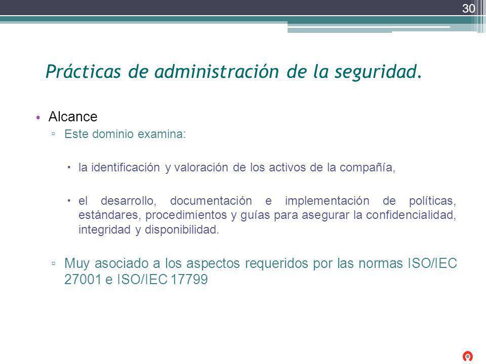 Prácticas de administración de la seguridad. Alcance Este dominio examina: la identificación y valoración de los activos de la compañía, el desarrollo