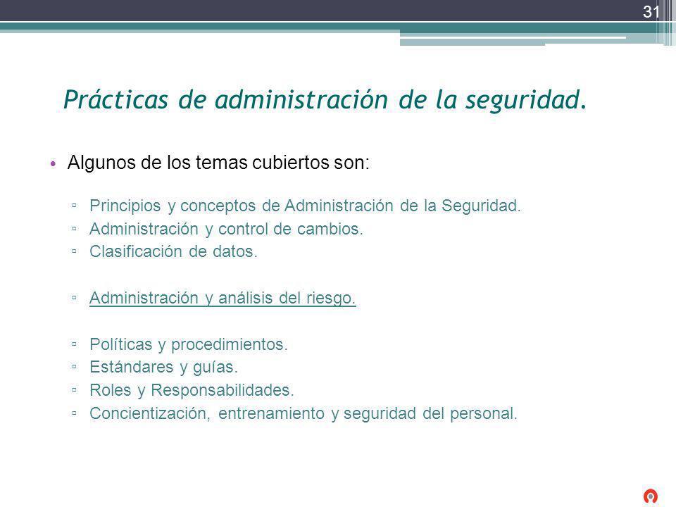 Prácticas de administración de la seguridad. Algunos de los temas cubiertos son: Principios y conceptos de Administración de la Seguridad. Administrac
