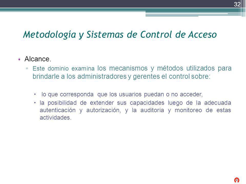 Metodología y Sistemas de Control de Acceso Alcance. Este dominio examina los mecanismos y métodos utilizados para brindarle a los administradores y g