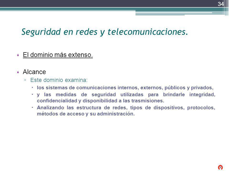 Seguridad en redes y telecomunicaciones. El dominio más extenso. Alcance Este dominio examina: los sistemas de comunicaciones internos, externos, públ