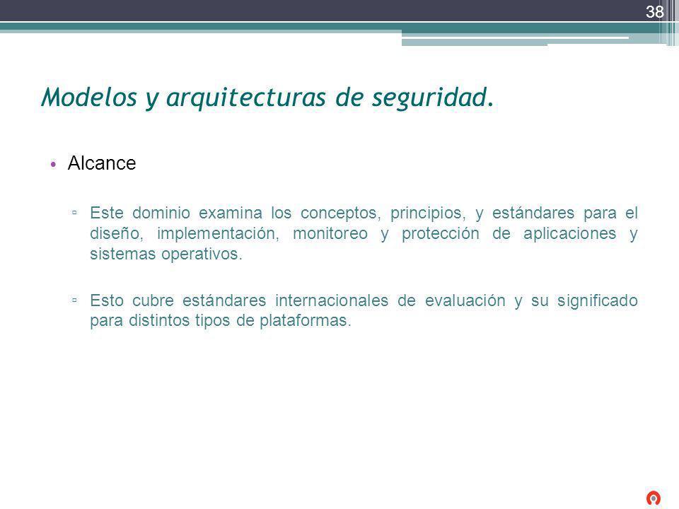 Modelos y arquitecturas de seguridad. Alcance Este dominio examina los conceptos, principios, y estándares para el diseño, implementación, monitoreo y