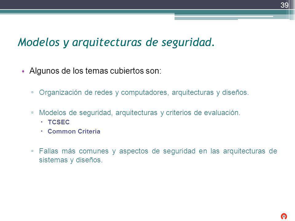 Modelos y arquitecturas de seguridad. Algunos de los temas cubiertos son: Organización de redes y computadores, arquitecturas y diseños. Modelos de se