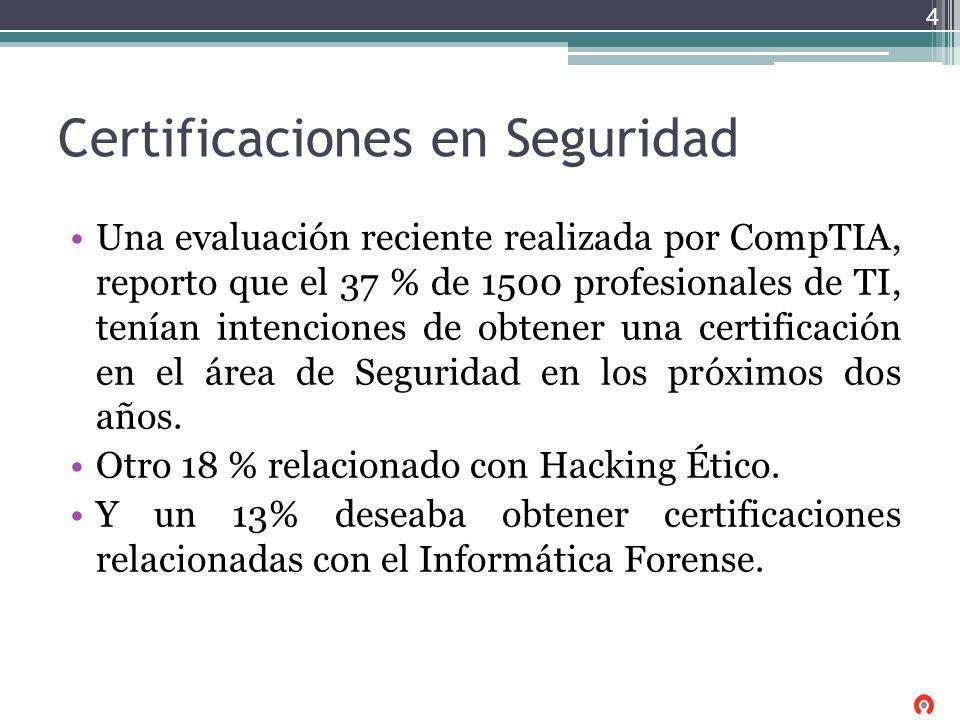 Certificaciones en Seguridad Una evaluación reciente realizada por CompTIA, reporto que el 37 % de 1500 profesionales de TI, tenían intenciones de obt