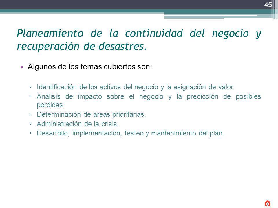 Planeamiento de la continuidad del negocio y recuperación de desastres. Algunos de los temas cubiertos son: Identificación de los activos del negocio