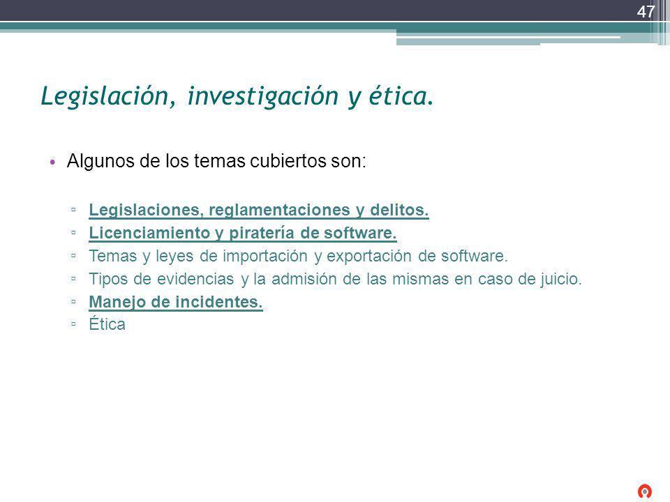 Legislación, investigación y ética. Algunos de los temas cubiertos son: Legislaciones, reglamentaciones y delitos. Licenciamiento y piratería de softw