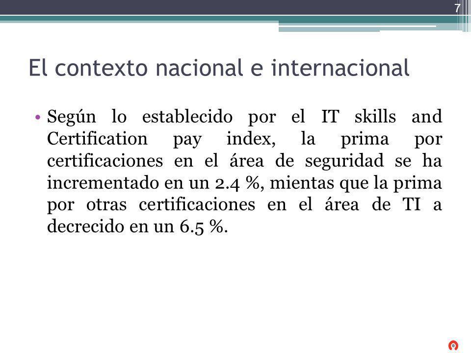 El contexto nacional e internacional Según lo establecido por el IT skills and Certification pay index, la prima por certificaciones en el área de seg