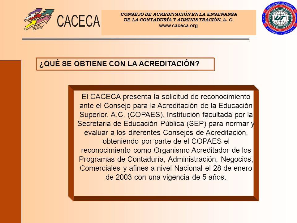 CONSEJO DE ACREDITACIÓN EN LA ENSEÑANZA DE LA CONTADURÍA Y ADMINISTRACIÓN, A. C. www.caceca.org ¿QUÉ SE OBTIENE CON LA ACREDITACIÓN? El CACECA present