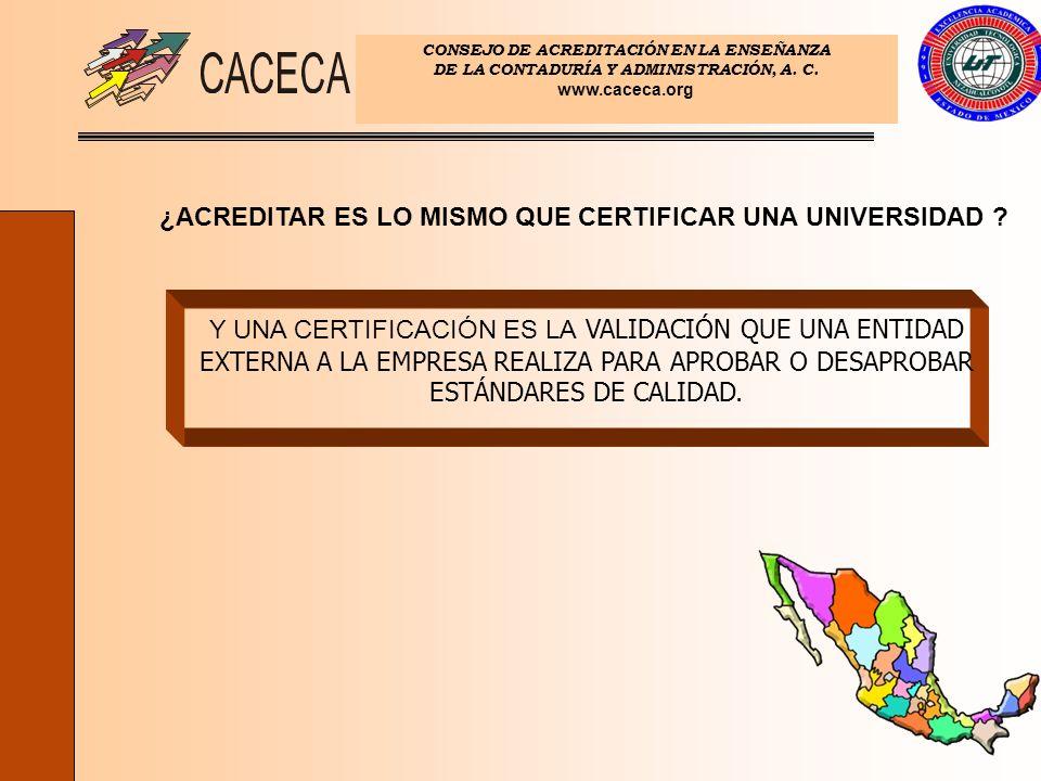 CONSEJO DE ACREDITACIÓN EN LA ENSEÑANZA DE LA CONTADURÍA Y ADMINISTRACIÓN, A. C. www.caceca.org ¿ACREDITAR ES LO MISMO QUE CERTIFICAR UNA UNIVERSIDAD