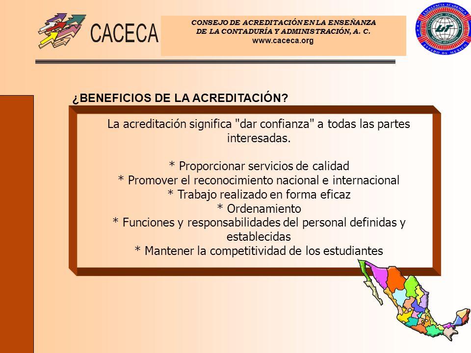 CONSEJO DE ACREDITACIÓN EN LA ENSEÑANZA DE LA CONTADURÍA Y ADMINISTRACIÓN, A. C. www.caceca.org ¿BENEFICIOS DE LA ACREDITACIÓN? La acreditación signif