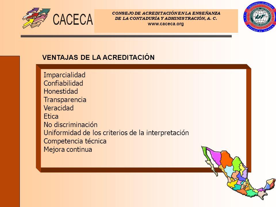 CONSEJO DE ACREDITACIÓN EN LA ENSEÑANZA DE LA CONTADURÍA Y ADMINISTRACIÓN, A. C. www.caceca.org VENTAJAS DE LA ACREDITACIÓN Imparcialidad Confiabilida