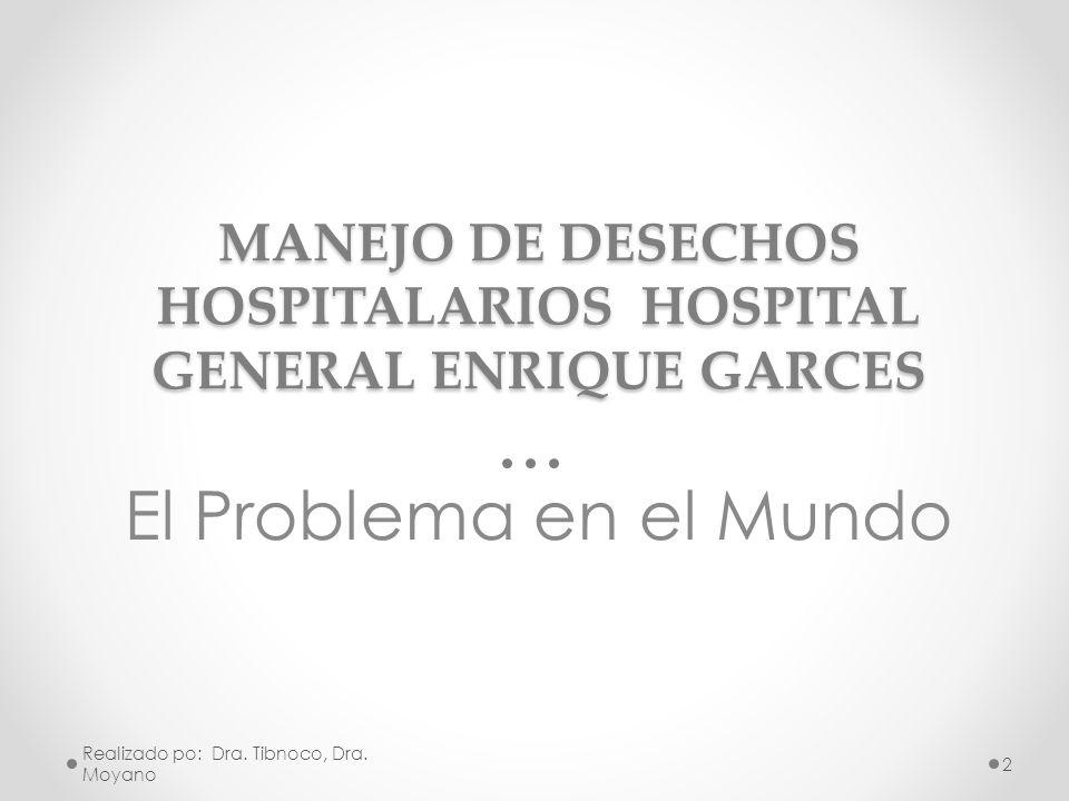 MANEJO DE DESECHOS HOSPITALARIOS HOSPITAL GENERAL ENRIQUE GARCES El Problema en el Mundo Realizado po: Dra. Tibnoco, Dra. Moyano 2