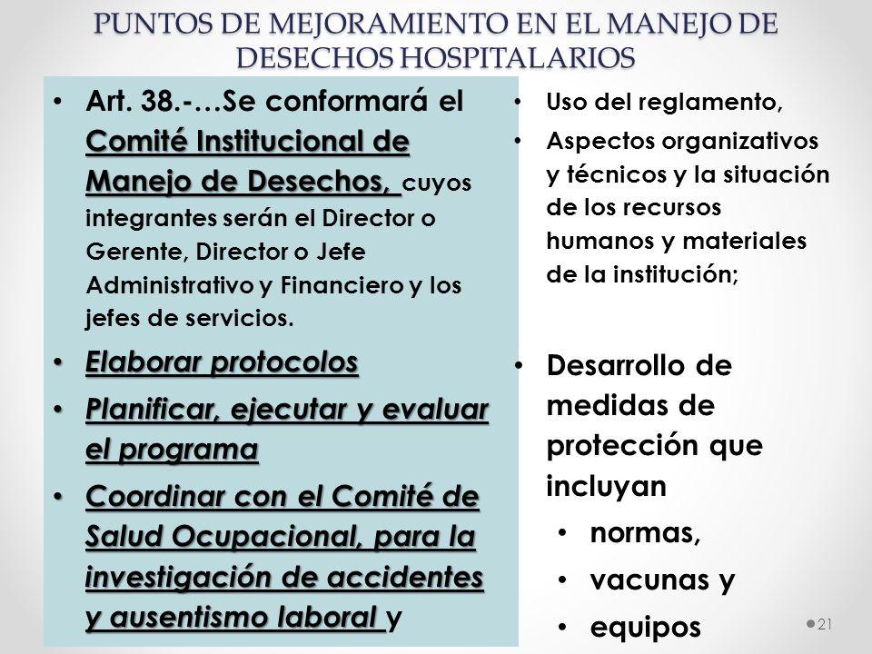 Realizado po: Dra. Tibnoco, Dra. Moyano 21 Comité Institucional de Manejo de Desechos, Art. 38.-…Se conformará el Comité Institucional de Manejo de De