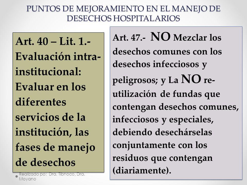Realizado po: Dra. Tibnoco, Dra. Moyano 22 Art. 40 – Lit. 1.- Evaluación intra- institucional: Evaluar en los diferentes servicios de la institución,
