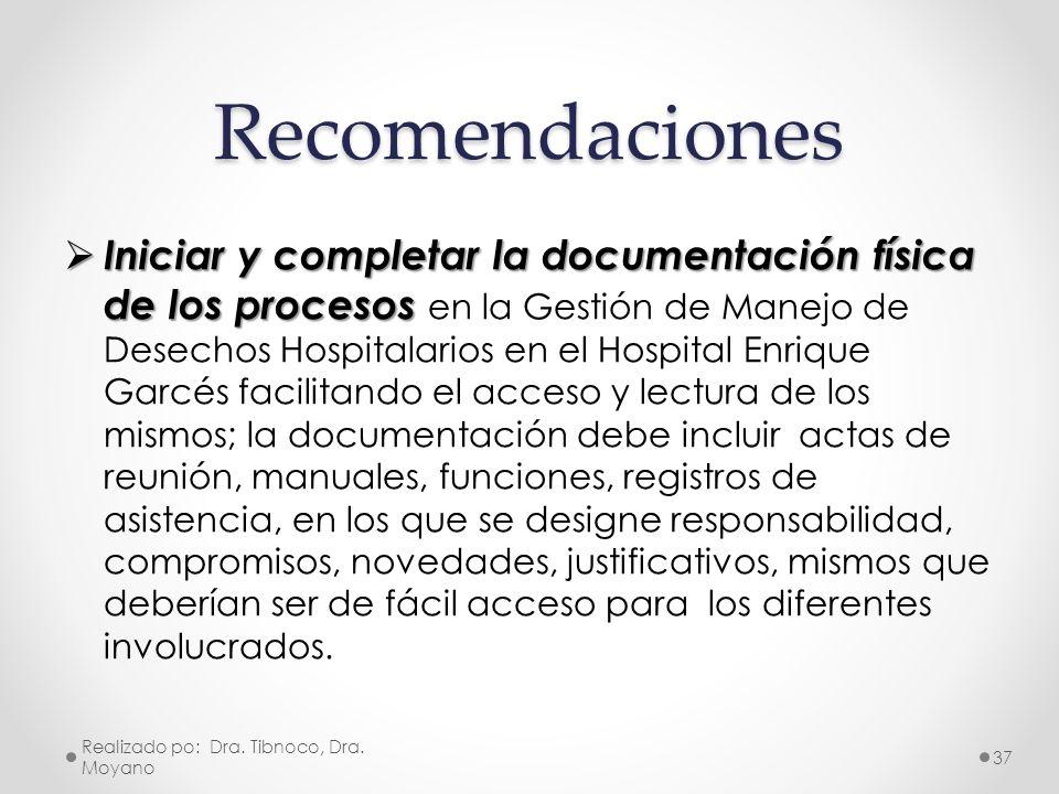 Recomendaciones Iniciar y completar la documentación física de los procesos Iniciar y completar la documentación física de los procesos en la Gestión