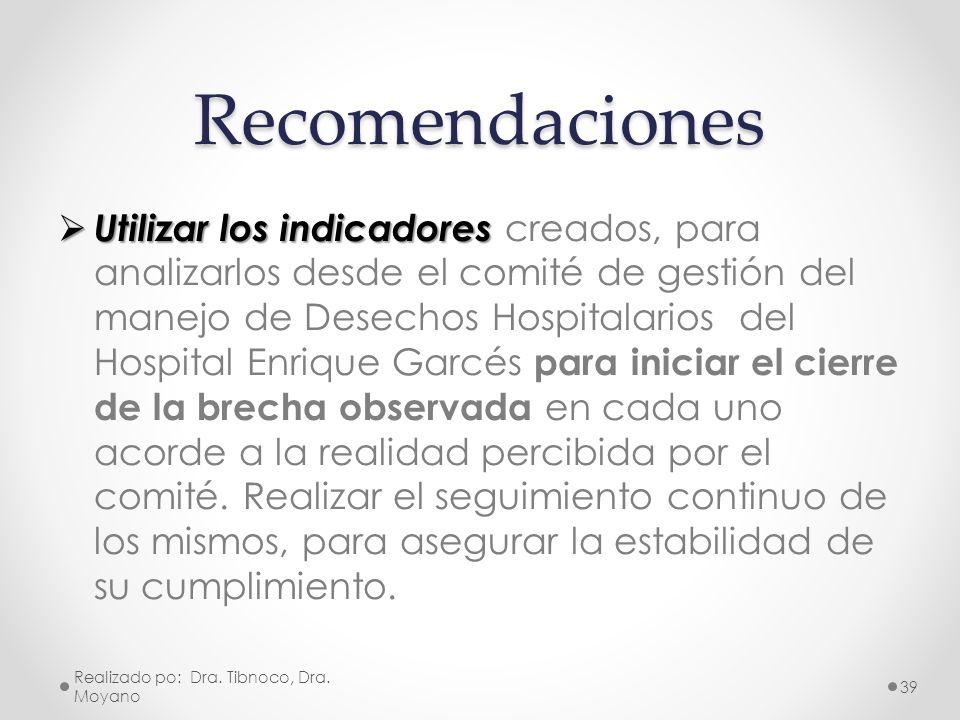 Recomendaciones Utilizar los indicadores Utilizar los indicadores creados, para analizarlos desde el comité de gestión del manejo de Desechos Hospital