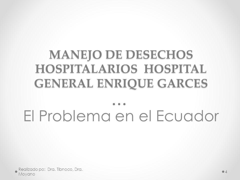 MANEJO DE DESECHOS HOSPITALARIOS HOSPITAL GENERAL ENRIQUE GARCES El Problema en el Ecuador Realizado po: Dra. Tibnoco, Dra. Moyano 4