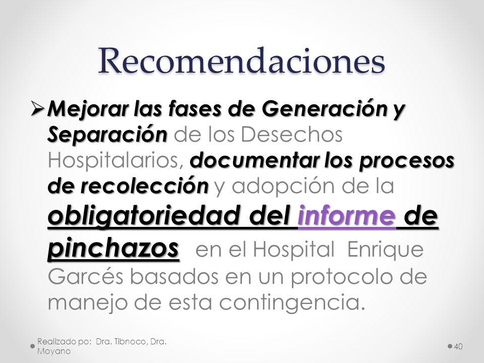 Recomendaciones Mejorar las fases de Generación y Separación documentar los procesos de recolección obligatoriedad del informe de pinchazos Mejorar la