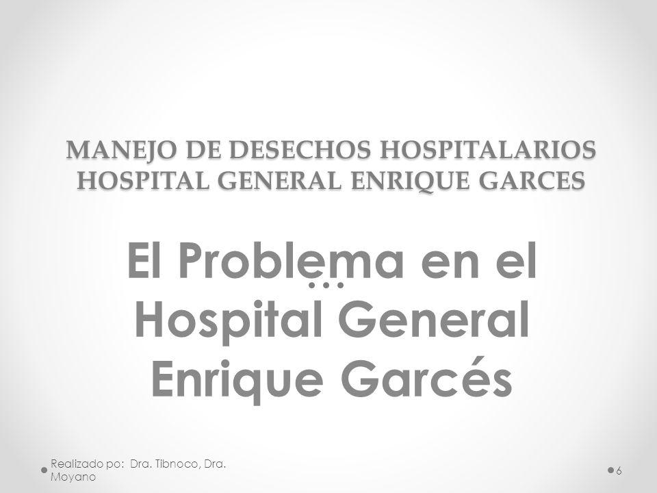 MANEJO DE DESECHOS HOSPITALARIOS HOSPITAL GENERAL ENRIQUE GARCES El Problema en el Hospital General Enrique Garcés Realizado po: Dra. Tibnoco, Dra. Mo
