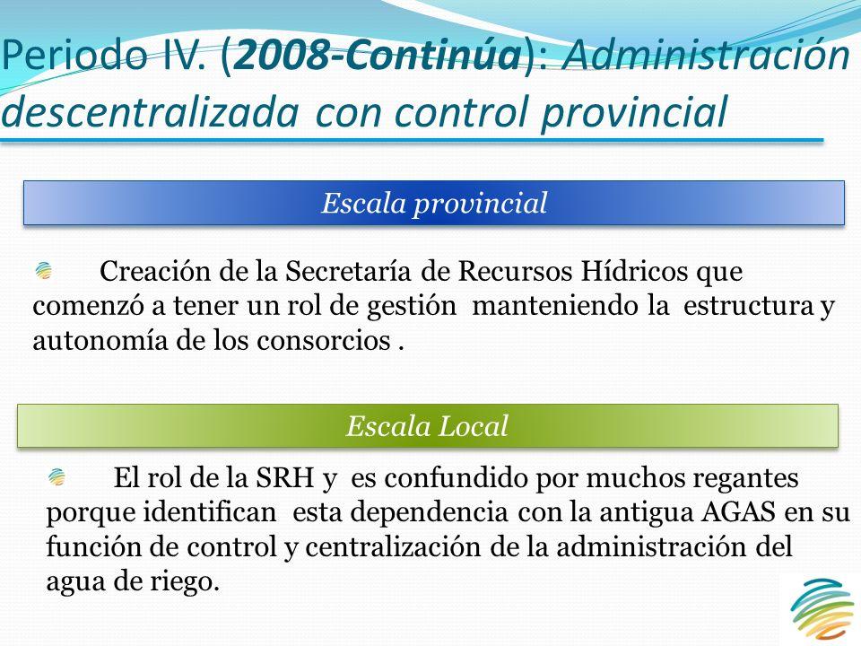 Periodo IV. (2008-Continúa): Administración descentralizada con control provincial Escala provincial Escala Local Creación de la Secretaría de Recurso