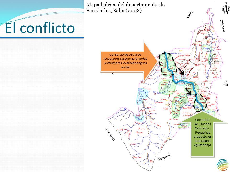 El conflicto Consorcio de Usuarios Angostura-Las Juntas Grandes productores localizados aguas arriba Consorcio de usuarios Calchaquí.