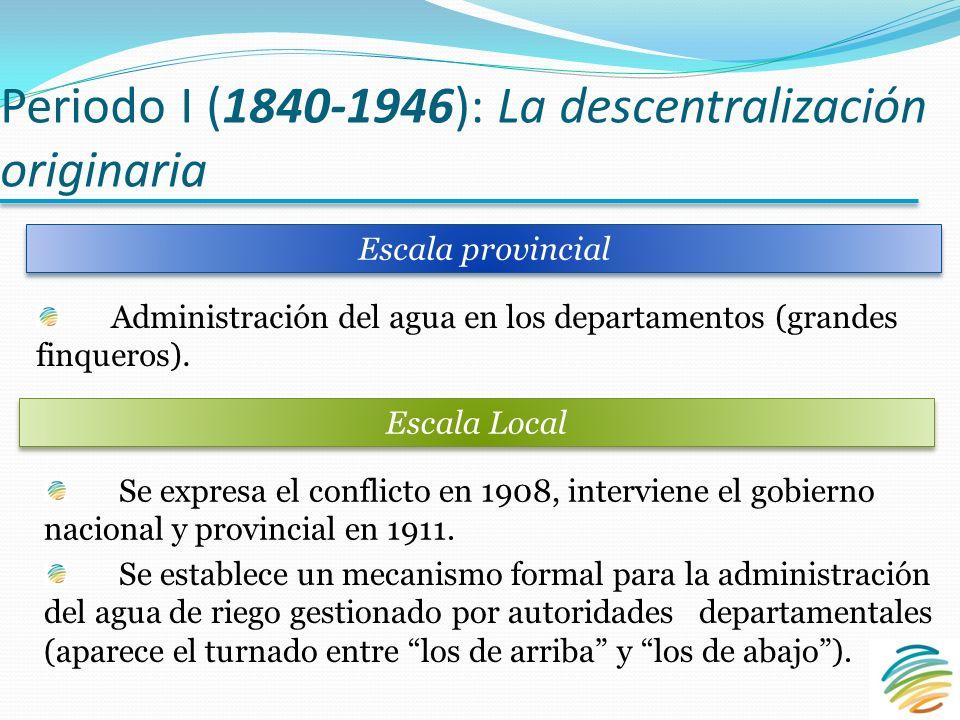 Periodo I (1840-1946): La descentralización originaria Administración del agua en los departamentos (grandes finqueros).