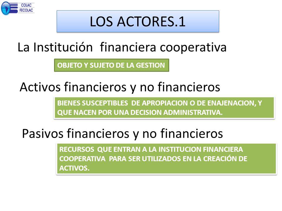 LOS ACTORES.1 La Institución financiera cooperativa OBJETO Y SUJETO DE LA GESTION Activos financieros y no financieros BIENES SUSCEPTIBLES DE APROPIAC
