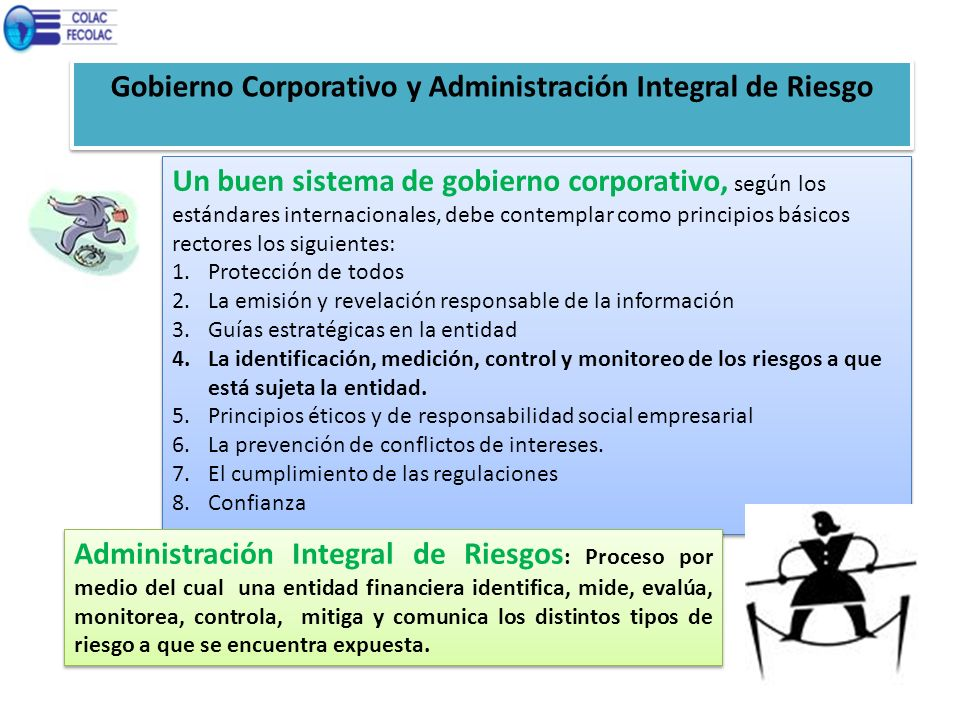 Gobierno Corporativo y Administración Integral de Riesgo Un buen sistema de gobierno corporativo, según los estándares internacionales, debe contempla