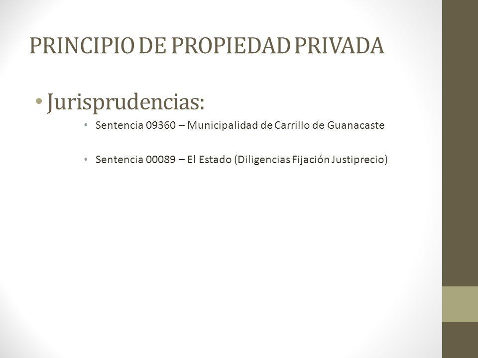 PRINCIPIO DE PROPIEDAD PRIVADA Jurisprudencias: Sentencia 09360 – Municipalidad de Carrillo de Guanacaste Sentencia 00089 – El Estado (Diligencias Fij