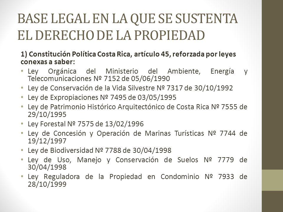 BASE LEGAL EN LA QUE SE SUSTENTA EL DERECHO DE LA PROPIEDAD 1) Constitución Política Costa Rica, artículo 45, reforzada por leyes conexas a saber: Ley