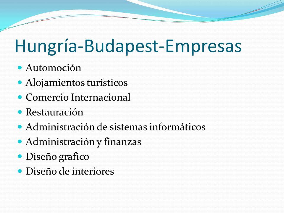 Hungría-Budapest-Empresas Automoción Alojamientos turísticos Comercio Internacional Restauración Administración de sistemas informáticos Administración y finanzas Diseño grafico Diseño de interiores