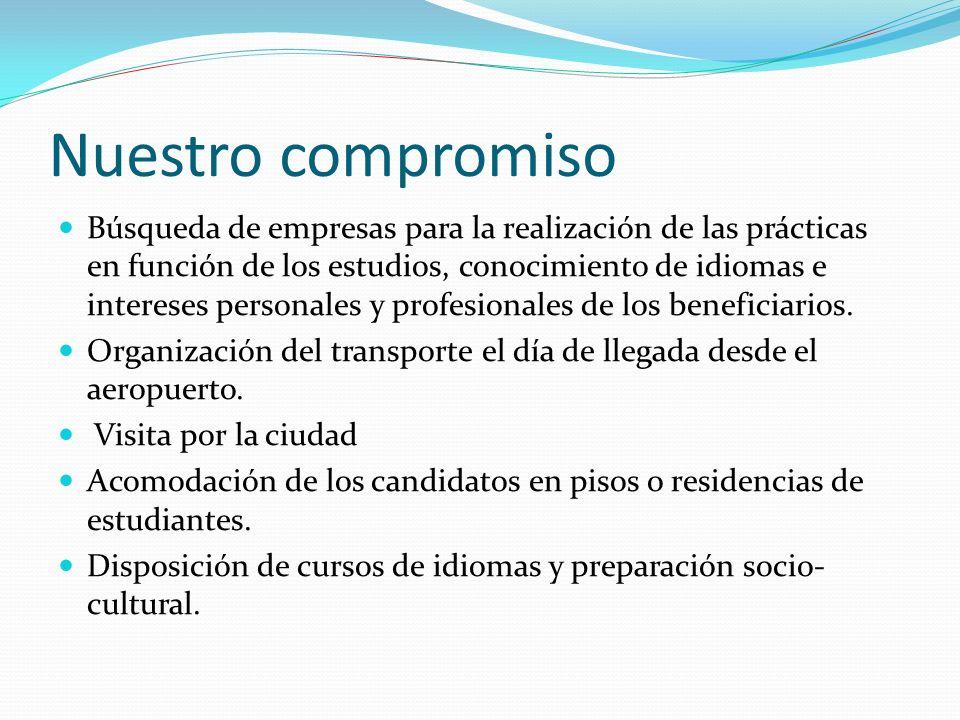 Nuestro compromiso Búsqueda de empresas para la realización de las prácticas en función de los estudios, conocimiento de idiomas e intereses personales y profesionales de los beneficiarios.