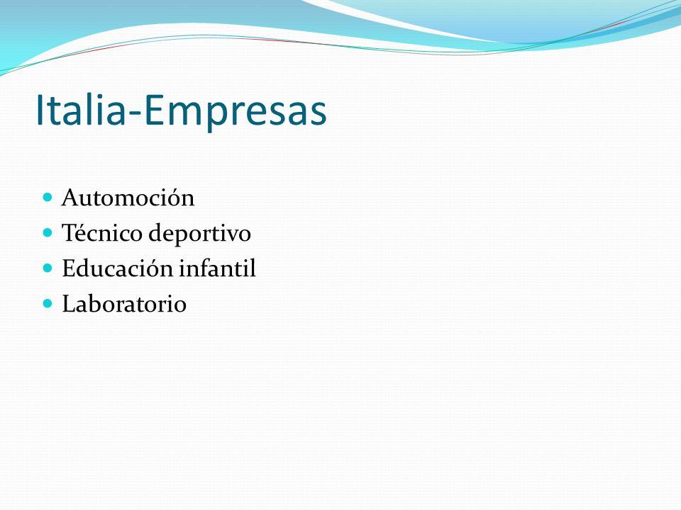 Italia-Empresas Automoción Técnico deportivo Educación infantil Laboratorio