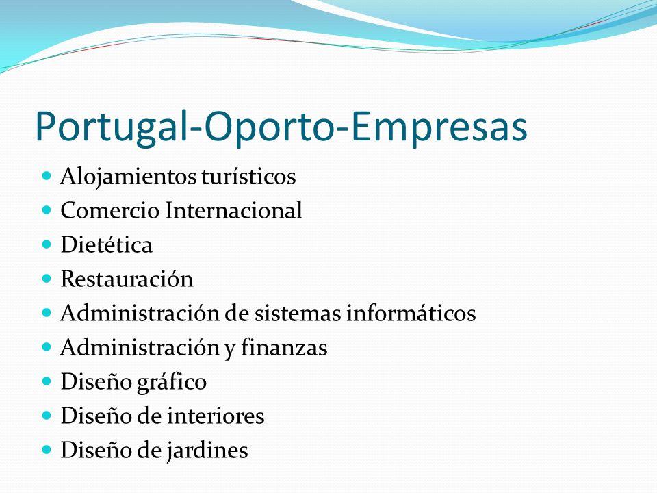 Portugal-Oporto-Empresas Alojamientos turísticos Comercio Internacional Dietética Restauración Administración de sistemas informáticos Administración y finanzas Diseño gráfico Diseño de interiores Diseño de jardines