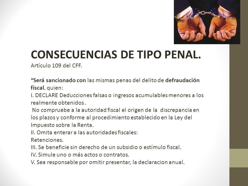 CONSECUENCIAS DE TIPO PENAL.Artículo 109 del CFF.
