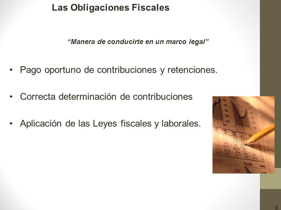 Las Obligaciones Fiscales Pago oportuno de contribuciones y retenciones.