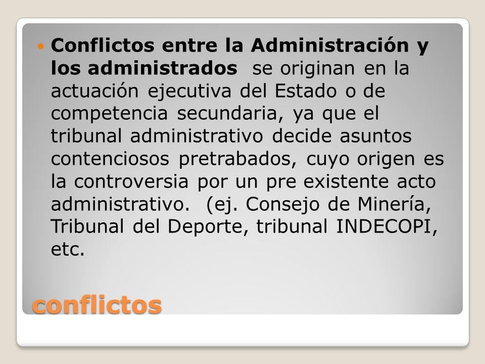 conflictos Conflictos entre la Administración y los administrados se originan en la actuación ejecutiva del Estado o de competencia secundaria, ya que
