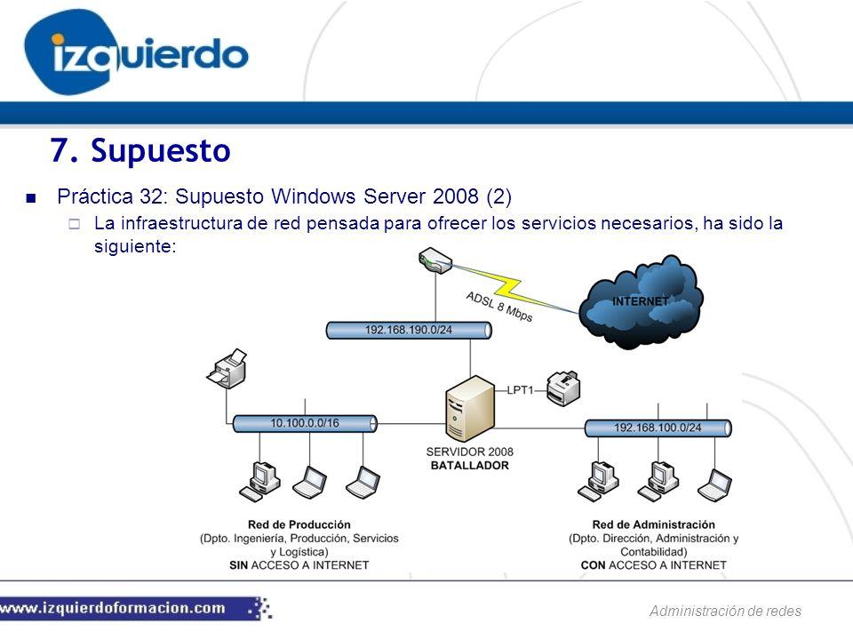 Administración de redes Práctica 32: Supuesto Windows Server 2008 (2) La infraestructura de red pensada para ofrecer los servicios necesarios, ha sido la siguiente: 7.