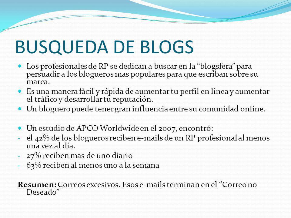 BUSQUEDA DE BLOGS Los profesionales de RP se dedican a buscar en la blogsfera para persuadir a los blogueros mas populares para que escriban sobre su