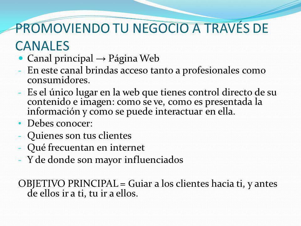 PROMOVIENDO TU NEGOCIO A TRAVÉS DE CANALES Canal principal Página Web - En este canal brindas acceso tanto a profesionales como consumidores. - Es el