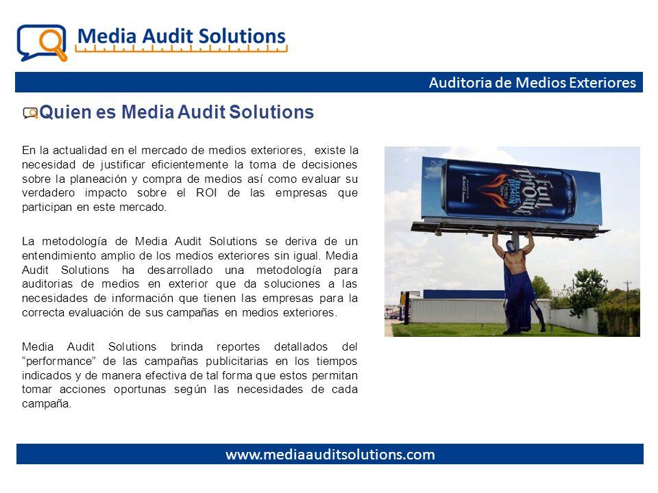 Quien es Media Audit Solutions En la actualidad en el mercado de medios exteriores, existe la necesidad de justificar eficientemente la toma de decisi