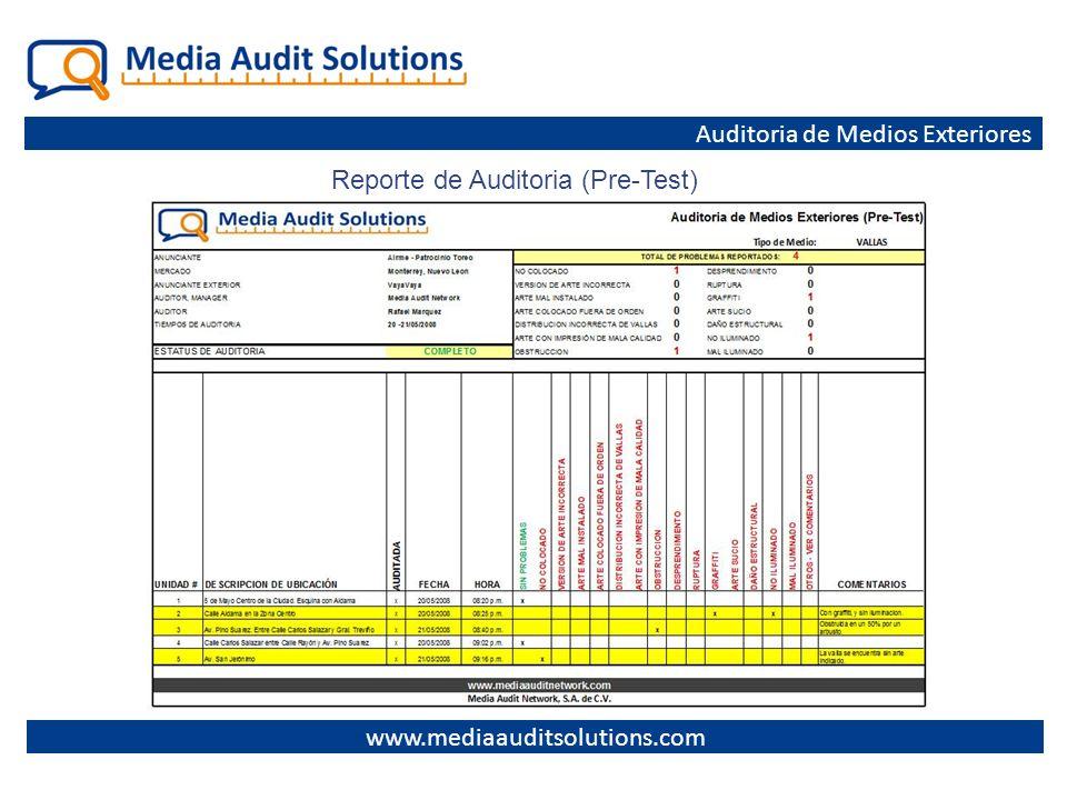 Auditoria de Medios Exteriores Reporte de Auditoria (Pre-Test)